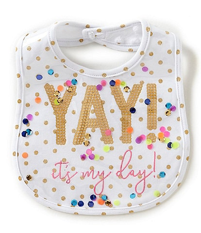 Mud Pie Baby Girls Dotted and Sequin Yay It's My Day Bib