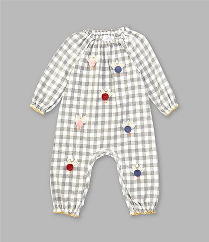Mud Pie Baby Girls Newborn-18 Months Long-Sleeve Checked Pom-Pom-Turkey Flannel Coverall