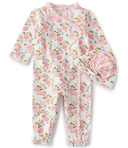 Mud Pie Baby Girls Newborn-3 Months Rose Convertible Gown & Hat Set