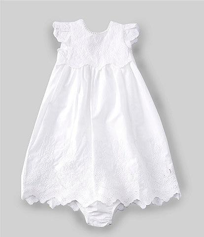 Mud Pie Baby Girls Newborn-6 Months Cap-Sleeve Eyelet/Crocheted Christening Gown