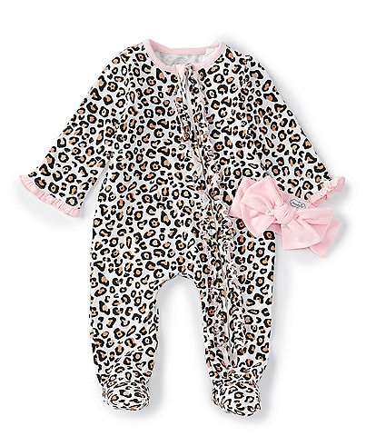 Mud Pie Baby Girls Newborn-6 Months Long-Sleeve Leopard-Printed Footed Coverall