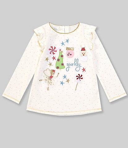 Mud Pie Baby/Toddler Girls 12 Months-5 Long-Sleeve Glitter All The Way Christmas Top