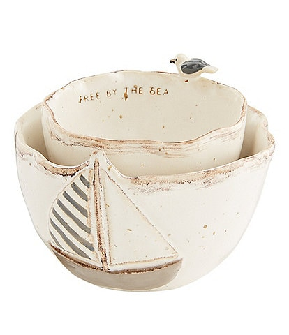 Mud Pie Boat Icon Nested Dip Bowl Set