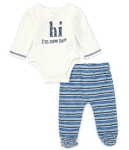 Mud Pie Boy Boys Newborn-3 Months Long-Sleeve Hi I'm New Here Bodysuit & Striped Footed Pants Set