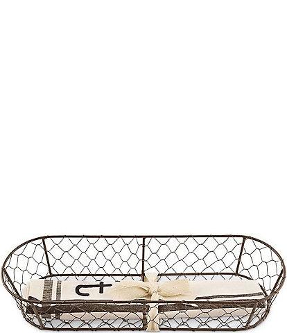 Mud Pie Bread Basket with Towel Set