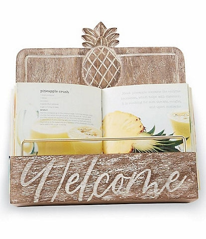 Mud Pie Pineapple Carved Welcome Cookbook Stand