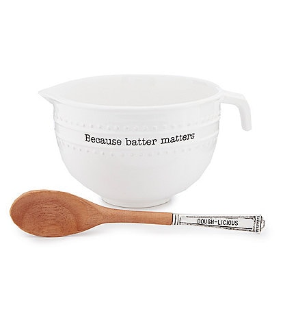 Mud Pie Circa Ceramic Batter Mixing Bowl and Spoon Set
