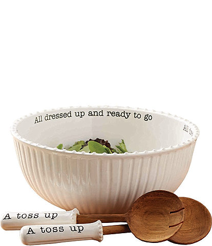 Mud Pie Circa Ceramic Salad Bowl & Wood Server Set