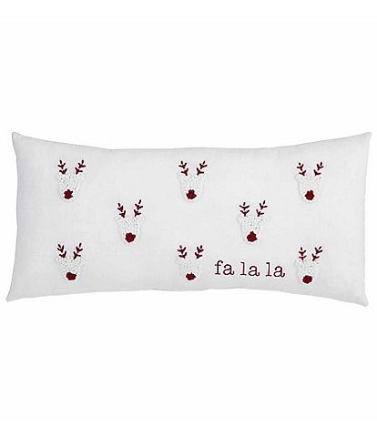 Mud Pie Circa Collection Reindeer Fa La La French Knot Pillow