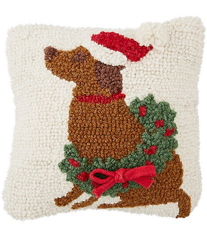 Mud Pie Classic Christmas Collection Dog & Wreath Pillow