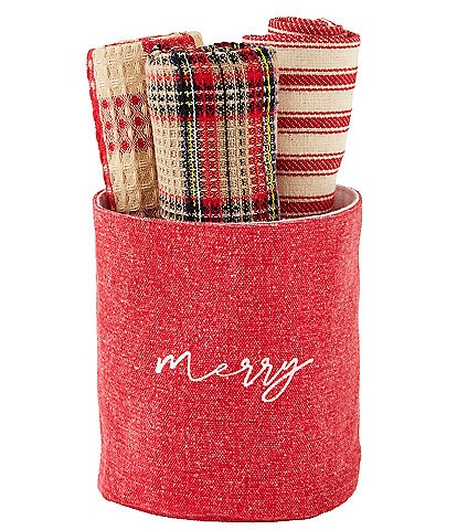 Mud Pie Classic Christmas Collection #double;Merry#double; Tartan Kitchen Towel Set with Holder