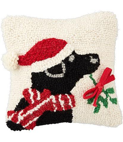 Mud Pie Classic Christmas Collection Santa Hat Dog & Mistletoe Pillow