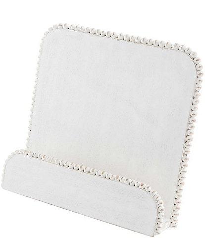 Mud Pie Classic White Beaded Cookbook Holder