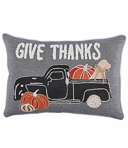 Mud Pie Festive Fall Collection Give Thanks Dog & Truck Pillow