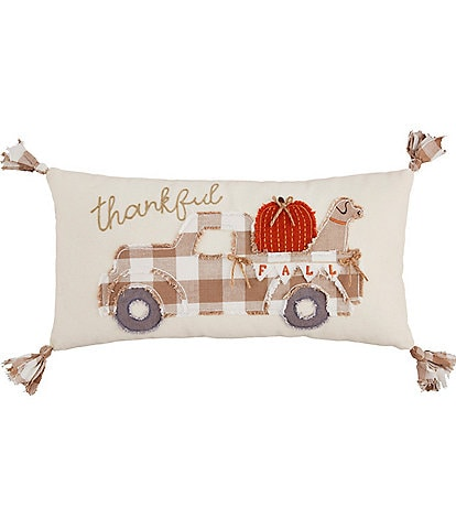 Mud Pie Festive Fall Collection Thankful Truck Pillow