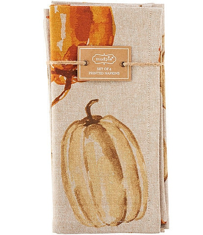 Mud Pie Festive Fall Collection Watercolor Pumpkin Napkins, Set of 4