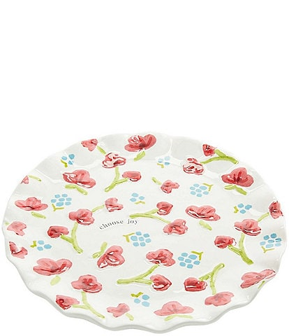 Mud Pie Floral Scalloped 13#double; Round Platter