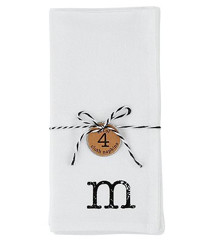 Mud Pie Flour Sack Initial Napkins Set of 4