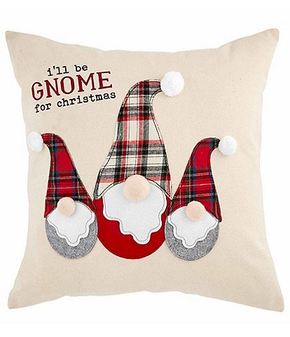 Mud Pie Gnome for the Holidays Collection I'll Be Gnome For Christmas Square Pillow