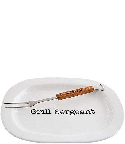 Mud Pie Grill Sergeant Platter with Skewer Fork