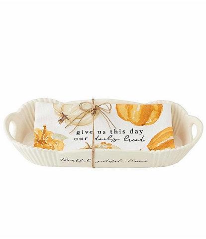 Mud Pie Harvest Pumpkin Bread Bowl & Towel Set