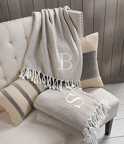 Mud Pie Herringbone Embroidered Initial Throw