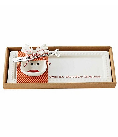 Mud Pie Holiday Circa Tray & Reindeer Bowl Set