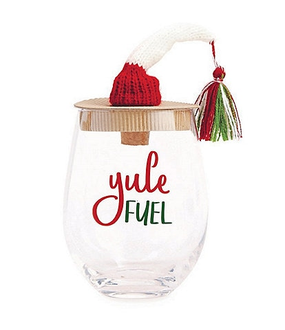 Mud Pie Holiday Hat #double;Yule Fuel#double; Stemless Wine Glass