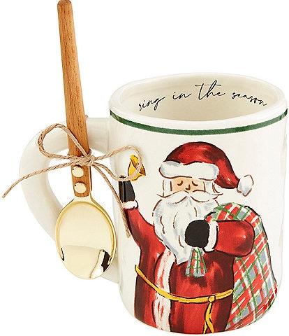 Mud Pie Holiday Santa Gift Sack Tartan Mugs, Set of 2