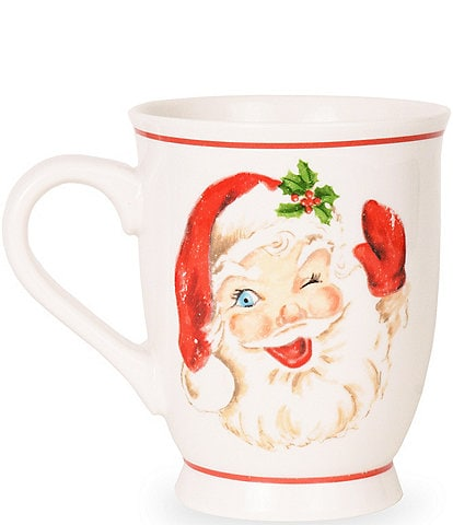 Mud Pie Holiday Vintage Santa Christmas Mug, Set of 2