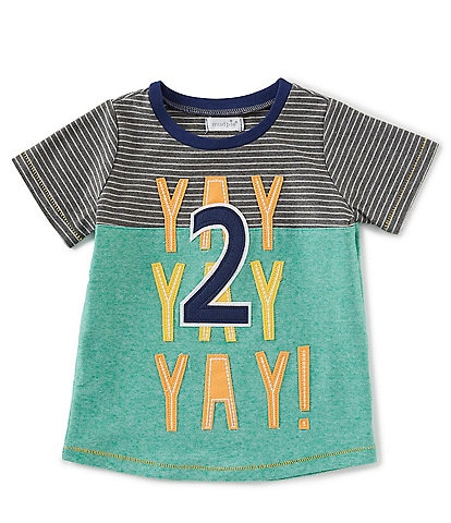 Mud Pie Little Boys 2T Short Sleeve 2nd Birthday Yay Tee
