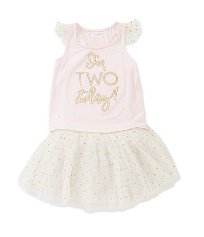 ec5a1b1857e Mud Pie Little Girls 2T 2nd Birthday Tank   Tutu Set