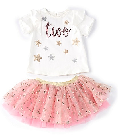 Mud Pie Little Girls 2T Short-Sleeve 2nd Birthday Tee & Foiled-Star-Printed Tutu Set