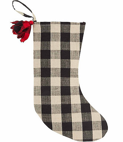 Mud Pie Lodge Collection White Buffalo Check Stocking