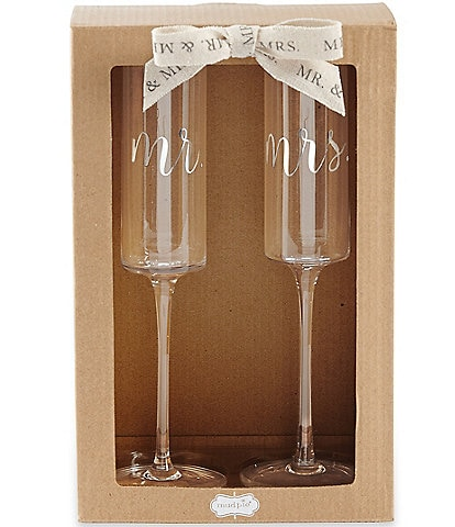 Mud Pie Mr & Mrs Champagne Flute Set