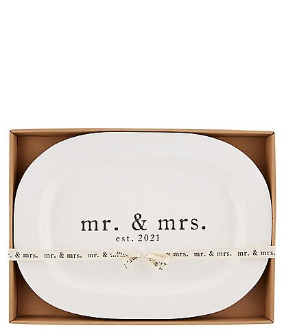Mud Pie Wedding Collection Mr & Mrs EST. 2021 Oval Platter