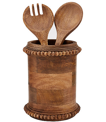 Mud Pie Pine Hill Collection Beaded Wood Utensil Holder