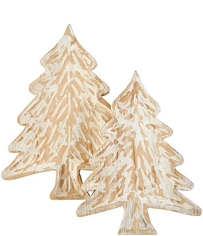 Mud Pie Silver Bells Collection Rustic Tree Shaped Decorative Tray Set