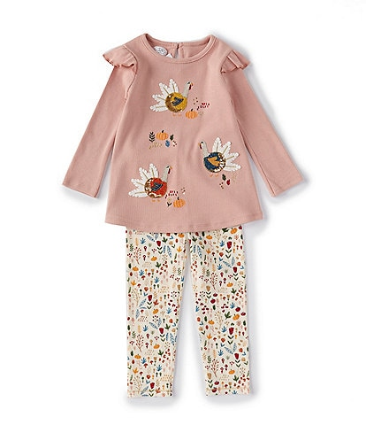 Mud Pie Toddler Girls 2T-5 Long-Sleeve Thanksgiving-Turkey-Applique Tunic & Printed Leggings Set