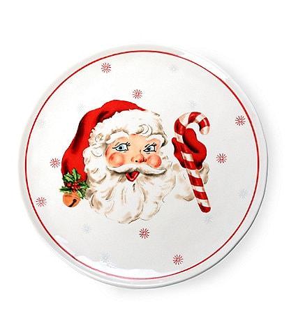 Mud Pie Vintage Christmas Santa Dinner Plates, Set of 2