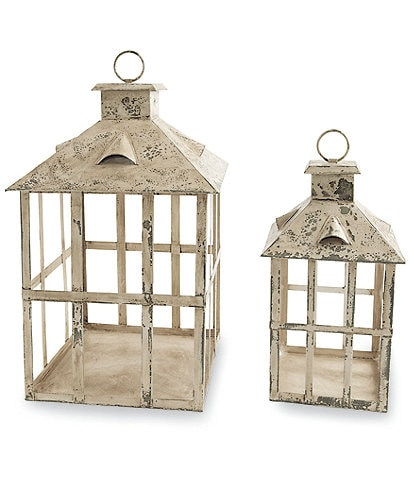 Mud Pie Vintage Farmhouse Collection Rustic Lantern Set