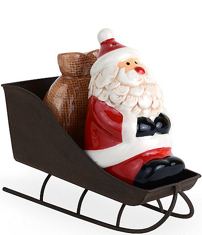 Mud Pie Vintage Santa Sleigh Salt & Pepper Set