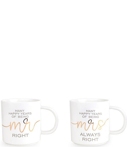 Mud Pie Wedding Collection Annivesary Mug Set