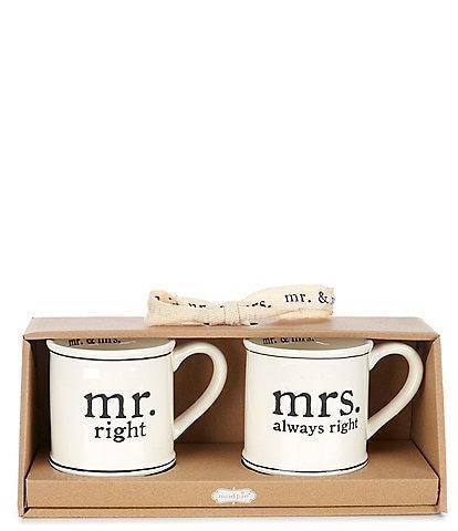 Mud Pie Wedding Mr & Mrs Right Mug Set