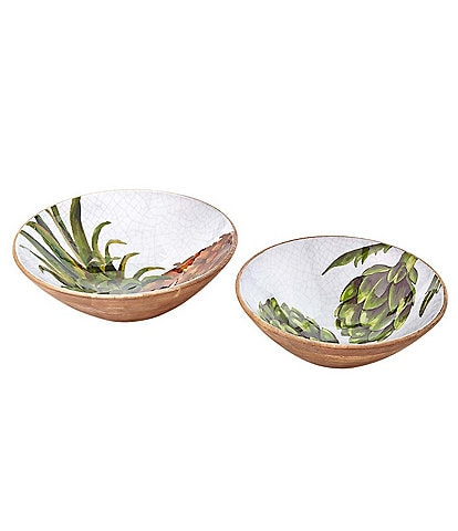 Mud Pie Welcome Wood Nested Bowl Set