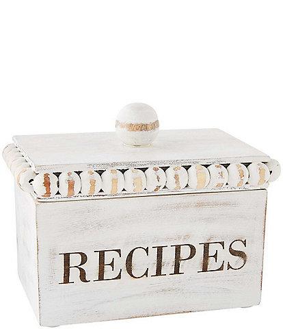 Mud Pie White Beaded Recipe Box