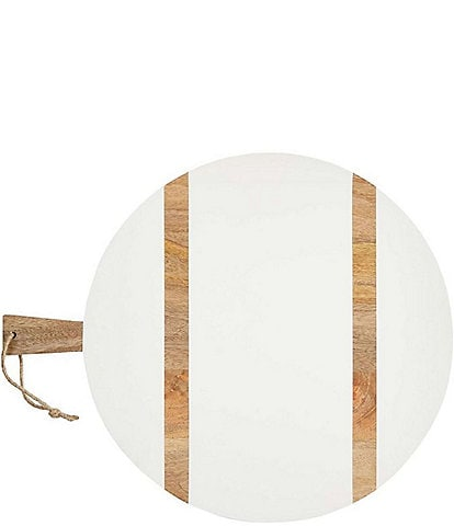 Mud Pie White Large Round Wood Board