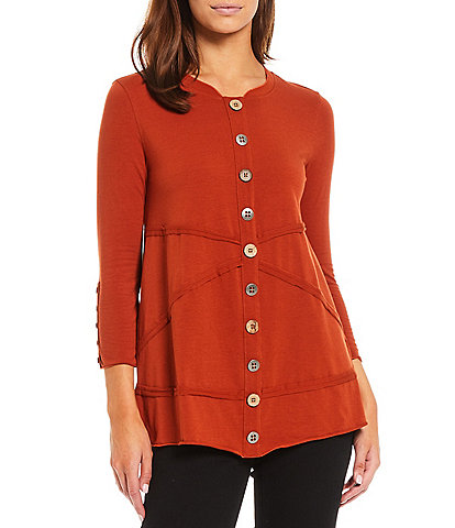 Multiples Band Crew Neck Seamed Detail Button Trim 3/4 Sleeve Knit Top