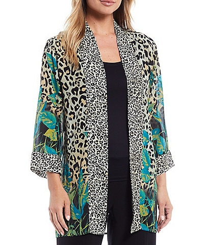 Multiples Cheetah & Leaves Placed Print Shawl Collar 3/4 Sleeve Open-Front Kimono Jacket