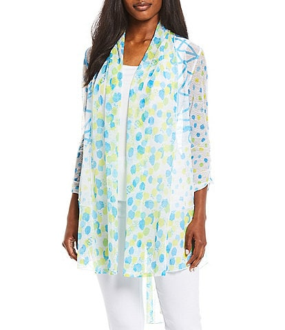 Multiples Dots & Squiggles Print Onionskin 3/4 Bungee Sleeve Open-Front Hi-Low Drapey Jacket